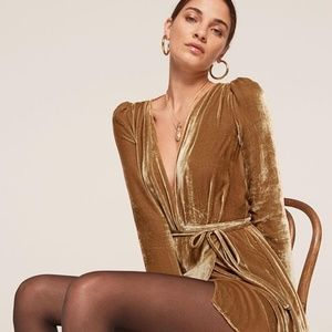 Reformation Chrissy Gold Velvet Dress NWT XS
